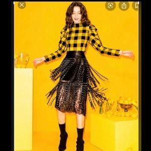 Alice + Olivia Senna Studded Leather Fringe Skirt